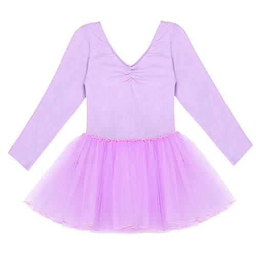 YiZYiF Kinder Mädchen Ballettanzug langarm Ballettkleid Ballett Trikot Turnanzug mit glänzende Rock Tütü in Rosa Lavendel Himmelblau und Schwarz (116, V-Ausschnitt Lila) -