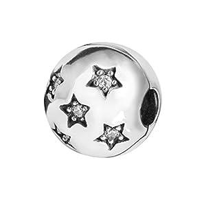 MATERIA Stopper Bead Clip Sterne 925 Silber & Zirkonia Weiß mit Gewinde Premiumqualität mit Box #188