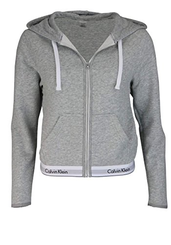 CALVIN KLEIN 000QS5667E TOP HOODIE FULL ZIP SWEATER Damen GREY M