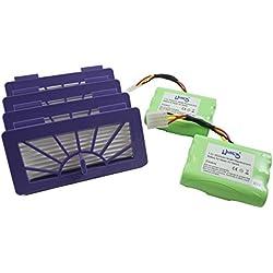 Hannets Kit d'accessoires Premium Neato I 4 filtres HEPA Neato XV Signature Pro, 2 x Batterie de Remplacement Neato 3500mAh 7.2V pour modèle 945-0005, 945-0006, XV Essential, XV-12, XV-15, XV-11