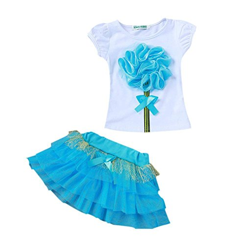 BOBORA Girls Infant Kids 2pcs Clothing Sets Flower T-Shirt Top + Tutu Skirt Outfits