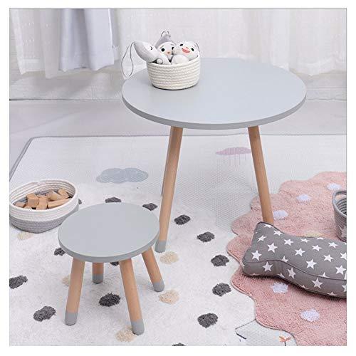 SHLFJQ Kindertisch Stuhl Set Runde Massivholz-Kinderkleinkind-Tabelle Home Baby Kindergarten Schreiben Tabelle Early Education Spielzeug-Spiel Tisch und Stuhl Kombination (Color : Gray) -
