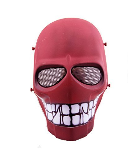 Halloween Kostüm Paintball - Worldshopping4U - Ganzgesichts-Schutzmaske für Airsoft, Paintball, Cosplay, Hockey, Halloween, als Kostüm, Schwarz/lächelnd/Kreuz/Totenkopf, Red Smile