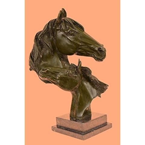 Escultura bronce estatua...Envío gratis...Hermosa puro monte dos caballos Caballo Busto(DW-009-EU)Estatuas estatuilla estatuillas desnuda Oficina y Decoración del hogar Coleccionables Primer Día regal
