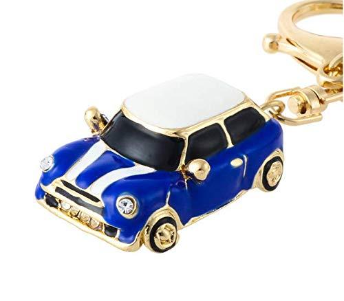 Mini estilo llavero de coche, regalo, azul/rojo, brillantes, detalle con ribete de color dorado, Blue(1)