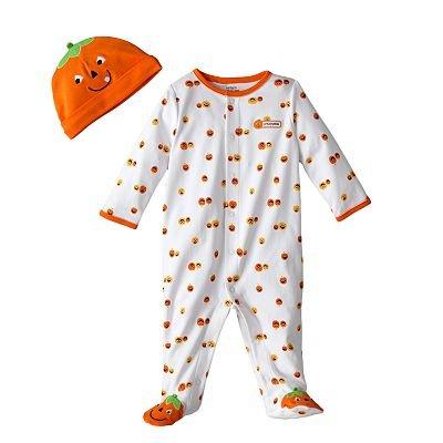 hlafanzug mit Mütze Mädchen Gr. 62/68 Einteiler Halloween Kürbis Boy Junge Strampler US Size 3-6 Month ()
