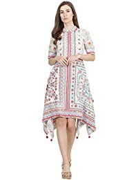 Label RITU KUMAR Women's A-Line Midi Dress (SSDVC.GGT26N17798022-WHITE-XS_White_XS)