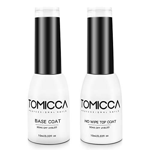 TOMICCA Top Coat und Base Coat, 2x10ml UV LED Gel Nagellack Base und Top Coat Maniküre Set, UV Nagellack Unterlack und Überlack