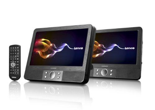 Lenco MES-403 tragbarer DVD-Player mit 2x 22,5 cm (9 Zoll) Monitor (Kartenslot, 1 Watt, USB) schwarz
