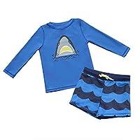7-Mi Outdoor Boys Swimwear Rash Guard Shirts Body SuitUPF 50+ UV Sunsuits Sun Protection Swimsuit sets 2pcs Set Long Sleeve Shirt and Shorts Shark Design For 1 to 2 Years Old