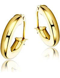 Miore 9 kt (375) Yellow Gold Hoop Earrings for Women, 3 x 14mm