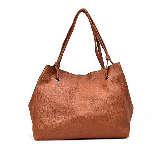 Meine Damen Handtasche Neue 4-Stück gesteppte Tasche einfach Damen Mode Umhängetasche, Hellbraun (Neue Gesteppte Handtasche)