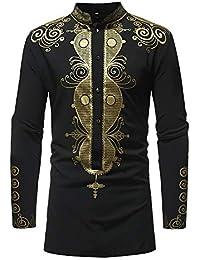 1fe70a0a9e4fc Baoffs Camisas Casuales de los Hombres clásicos Camisa de Cuello de Manga  Larga con Estampado étnico para Hombre Camisas con Botones Casual…
