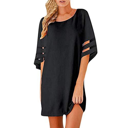 HULKY Frauen-beiläufiges Chiffon- Panel-Aufflackern-festes Spleiß-Ineinander greifen-Partei-Verein-Strand-Minikleid Elegant Loose Sommerkleider Damen(schwarz,L2)