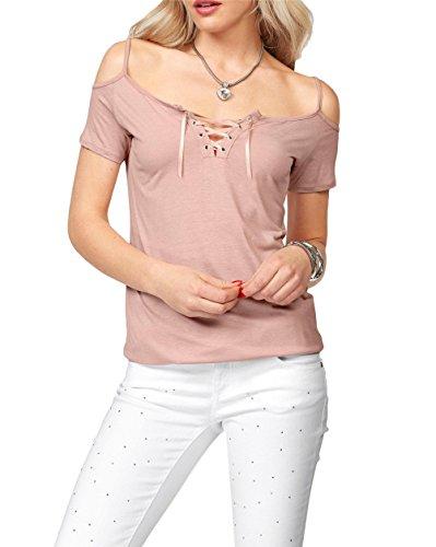 Frauen sexy V-Ausschnitt Querbügel Fest Farbe Ausschnitt Schulter Kurzarm T-Shirt Top Rosa