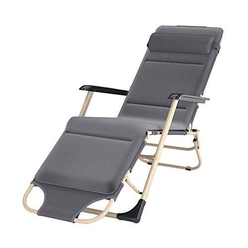 ze Patio Zero Gravity Lounge Chair für schwere Menschen, klappbarer tragbarer Stuhl für Strand, Pool, Garten, draußen und drinnen, grau, 200 kg (Farbe: Ohne Kissen),B ()