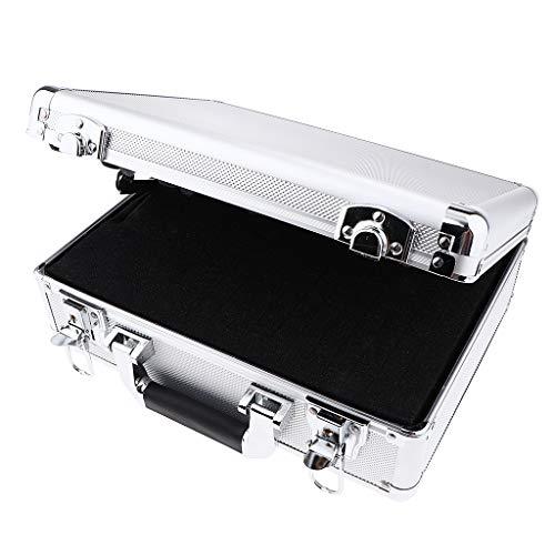 B Baosity Haltbar Alukoffer Aluminiumbox Werkzeugkoffer Werkzeugkiste mit Schlüssel, Silber Farbe - 33 x 12 x 27 cm