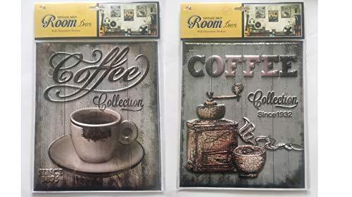 Beyond 3D Vintage Wandsticker Kaffee Aufkleber als Dekoration im Haus und Cafes 2 Stück Set -