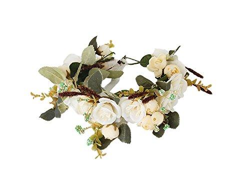 Cereoth Guirnalda de la flor Corona floral de la corona de la flor para la boda Festivales Tocado Blanco