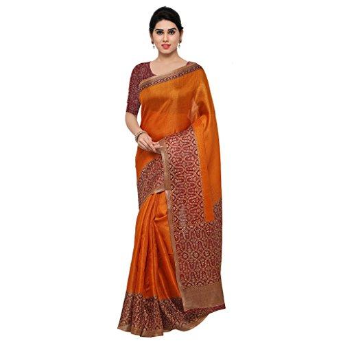 Rajnandini Women's Tussar Silk Kalamkari Printed Saree(JOPLNB6002E_Orange_Free Size)