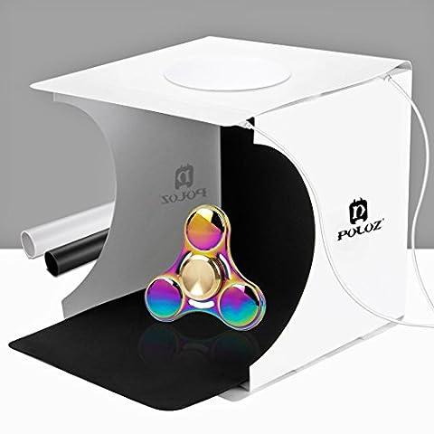 PULUZ Portable Mini Photo Studio 20cm x 20cm DIY Éclairage photographique de tablette Soft Box Kit de tentes de tir avec 2 PC 6000K Lampes LED intégrées et motifs à deux couleurs (noir et blanc)
