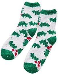 Sylar Navidad Calcetines Mujer Termicos Barato Grueso Suave Casual Vellón De Coral Calcetines Lindo Cómodos Caliente