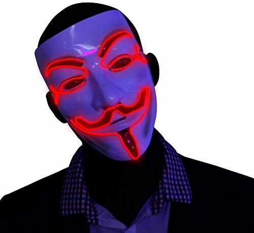 L Wire LED Mask, Guy Fawkes Anonymous Mask, glow in the dark light up halloween mask (Kandi Halloween)