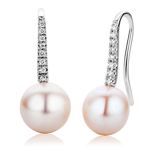 Miore 18ct/750 Weissgold Ohrringe mit Perlen und 16 Brillanten zus.ca.0,12ct