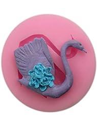 Auket Swan Gâteau fondant savon sucre Artisanat cuisson de décoration de gâteau de moule de silicone # 112 (3DMold-112)