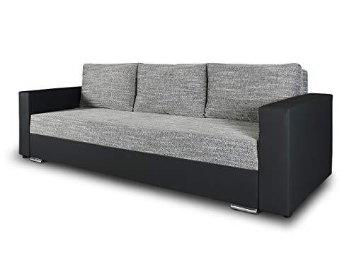 Schlafsofa Bird - Sofa mit Schlaffunktion und Bettkasten, Klappsofa, Schlafcouch mit Chromfüße, Couch, Couchgarnitur, Sofagarnitur (Schwarz + Grau (Dolaro 08 + Berlin 01)) (Couchgarnitur Schwarz Moderne)