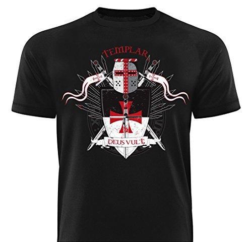GODSRAGE Shirt Templar Deus Vult T-Shirt Training Trainingsbekleidung Damen Herren Sport Bodybuilding M