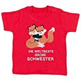 Geschwisterliebe Baby - Weltbeste große Schwester - Fuchs - 12-18 Monate - Rot - BZ02 - Baby T-Shirt Kurzarm