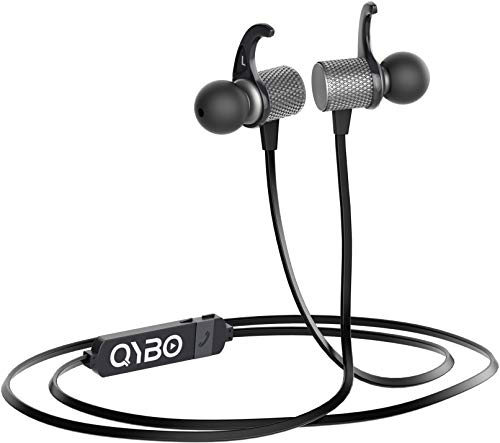 Qybo Bluetooth in-Ear Hook Earphones with Microphone Gunmetal + Carry Case