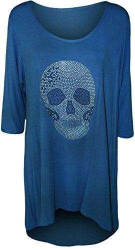 WearAll - Haut à manches mi-longues avec une encolure dégagée, un pan long et un crâne clouté - Hauts - Femmes - Grandes tailles 40 à 54 Bleu royal