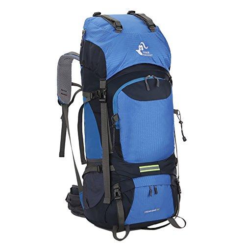 Wanderrucksacke, Skysper 60L Trekkingrucksäcke Outdoor Wasserdichte Reiserucksack mit Regenhülle für Sport und Bergsteigen Blau