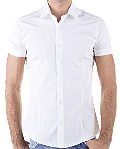 Redbridge by Cipo & Baxx Slim Fit Kurzarm Hemd Business Hochzeit Freizeit (4XL, Weiß - White)