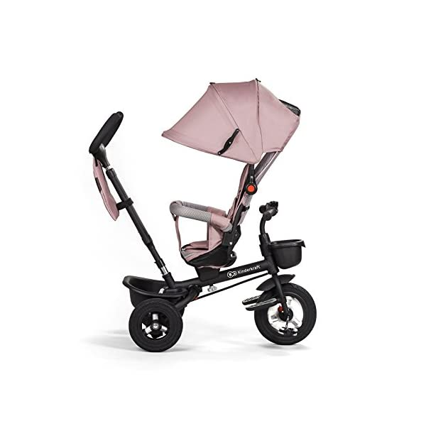 Kinderkraft Aveo Black and White Tricycle  Multifunctional Dreirädriges Aveo Bicycle Ride On A revolving seat with which the baby can face forwards and backwards. It is fitted with a large roof with a window for parents to protect the child both sun and rain. It has a basket with a contoured for the legs, plus a small basket for the transportation of your favourite pet toys. Features: Suitable for children from 1 to 5 years after penetration fixed rubber wheels swivel seat, Inverse or forward facing option folding function Rear brake parents 3 point safety harness for extra security barrier smooth the height of the handle for the parent unit high, broad, airy back rest platform pedals in the front wheel block 5