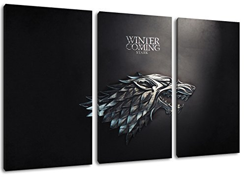 Dark Stark, Game of Thrones Motiv, 3-teilig auf Leinwand (Gesamtformat: 120x80 cm), Hochwertiger Kunstdruck als Wandbild. Billiger als ein Ölbild! ACHTUNG KEIN Poster oder Plakat!