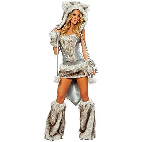 LAVINI COSPLAY-Sección de la cola grande de plata del tigre conejo de peluche chica gato zorro lobo de Halloween Disfraces