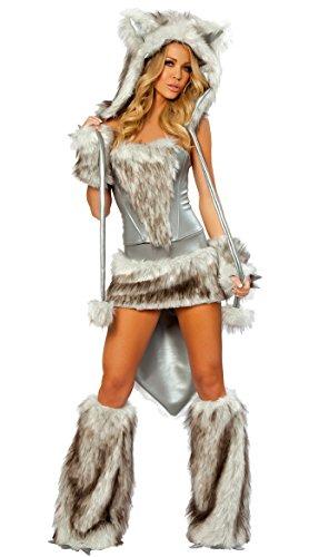 Kostüm Silber Ninja - DLucc Silber großen Heckteil Plüschkaninchen Tigerkatze Mädchen Fuchs Wolf Halloween-Kostüme