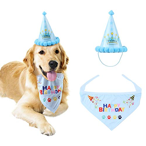 Hihey Haustier Geburtstag Hut Cute Pet Dog Geburtstag Bandana Schal und Hut Party Zubehör Welpen Geburtstag Feier Dekorationen