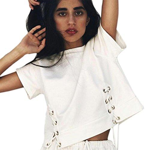 LHWY Damen Casual feste Runde Hals Tops Short Sleeve Bandage Bluse White