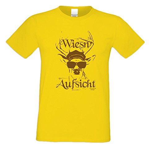 Herren Burschen Fun-Tshirt Outfit Motiv Wiesn - Aufsicht Volksfest-Zeit, Dult Bierzelt Oktober-Fest Hirsch-Geweih Geschenk Farbe: gelb Gelb