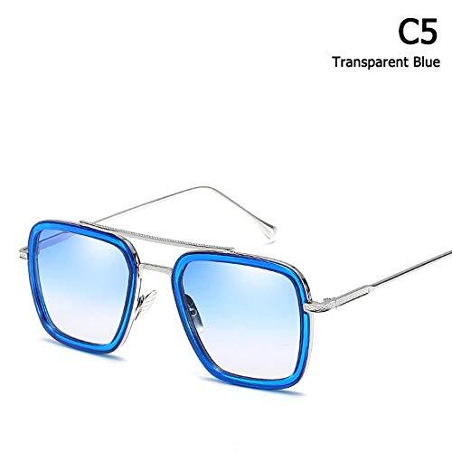 ZHOUYF Sonnenbrille Fahrerbrille Mode Avengers Tony Stark Flug Stil Sonnenbrille Männer Platz Luftfahrt Markendesign Sonnenbrille Oculos De Sol, E