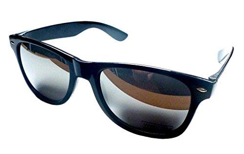 Wayfarer 80er Jahre Geek Designer Schwarz Rahmen Ski Sonnenbrille Brille Silber verspiegelt