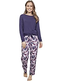 8fee0041f Cyberjammies 'Cassie' Long Sleeve Purple Knit Top and Woven Abstract Print  Pyjama Set (