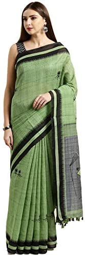 Monira Women's Linen Cotton Printed Traditional Saree with Blouse Piece (MONNB3056H, Gr
