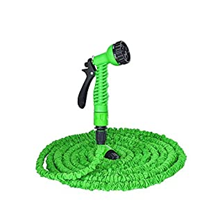 Garden Hose/Expandable Garden Hose,Expandable Flexible Magic Hose Pipe Hose Solid Brass Hose Fittings & Spray Gun,Enhanced Lightweight expandable garden hose pipe expands up to 3x length in use and contracts back down for storage. (Green)