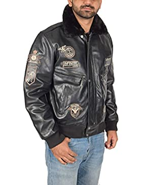 Hombre Cuero Aviador Volador Piloto Bomber Chaqueta de la Fuerza Aérea Estilo Asher Negro