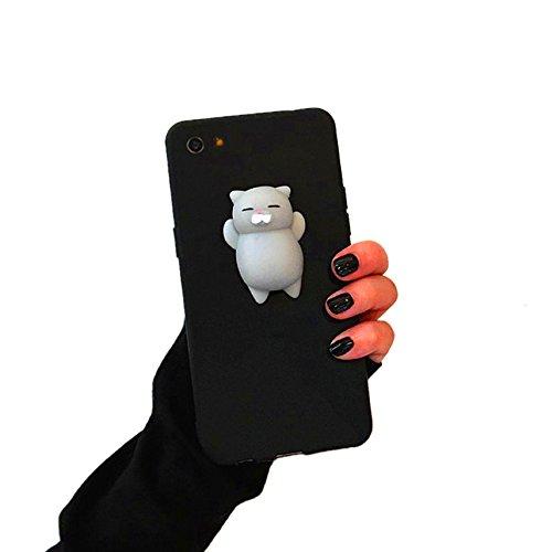 Preisvergleich Produktbild 3D Abdeckungsfall Kneten Squishy Telefon Katze Fall Abdeckung für iPhone 6 / 6s / 7 NEU (Schwarz & Grau)